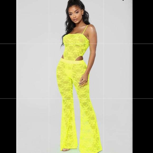 cc28518b75db Fashion Nova Pants - Neon Lace Pants Set
